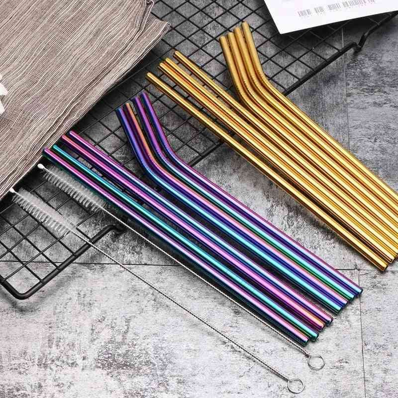 10 Colors Reusable Metal Colorful Drinking Straw