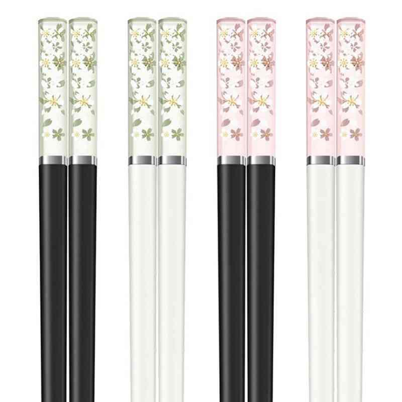 Amber Cherry Blossom Alloy Chinese Chopsticks