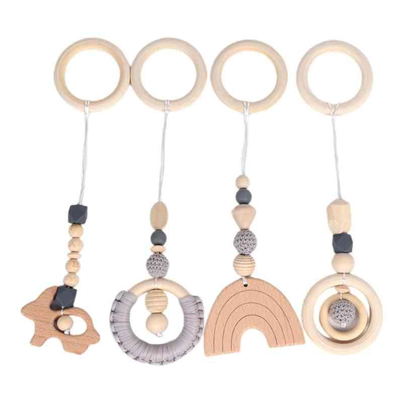 Baby Teething Nursing Rattle Play Gym Frame Stroller Hanging Pendants Wooden Ring Molar
