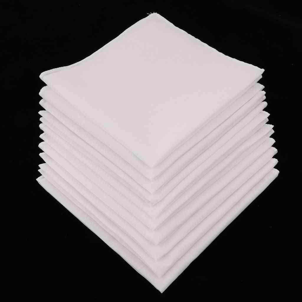 Mens White Handkerchiefs Cotton Square Super Soft Washable Hanky