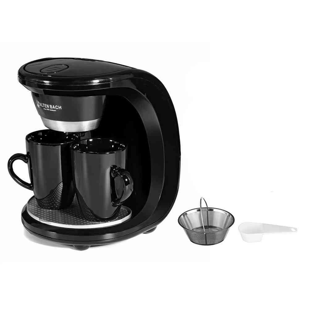 Electric Steam Drip Coffee Maker, Dual Cup Coffee Machine