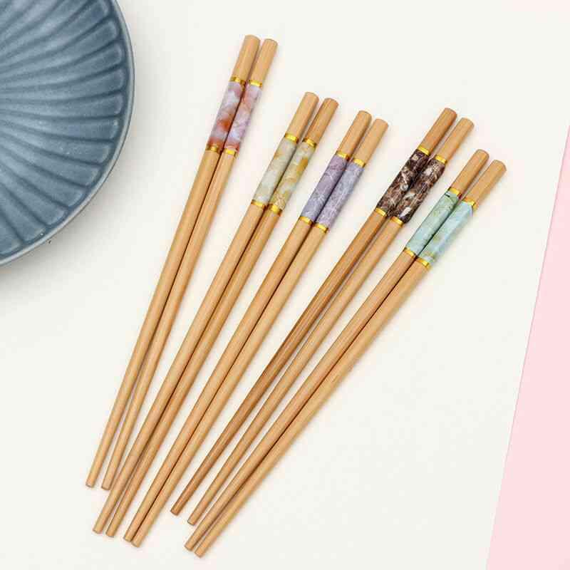 Bamboo Wood Marbling Anti-skid Chinese Style Sushi Rice Chopsticks Set