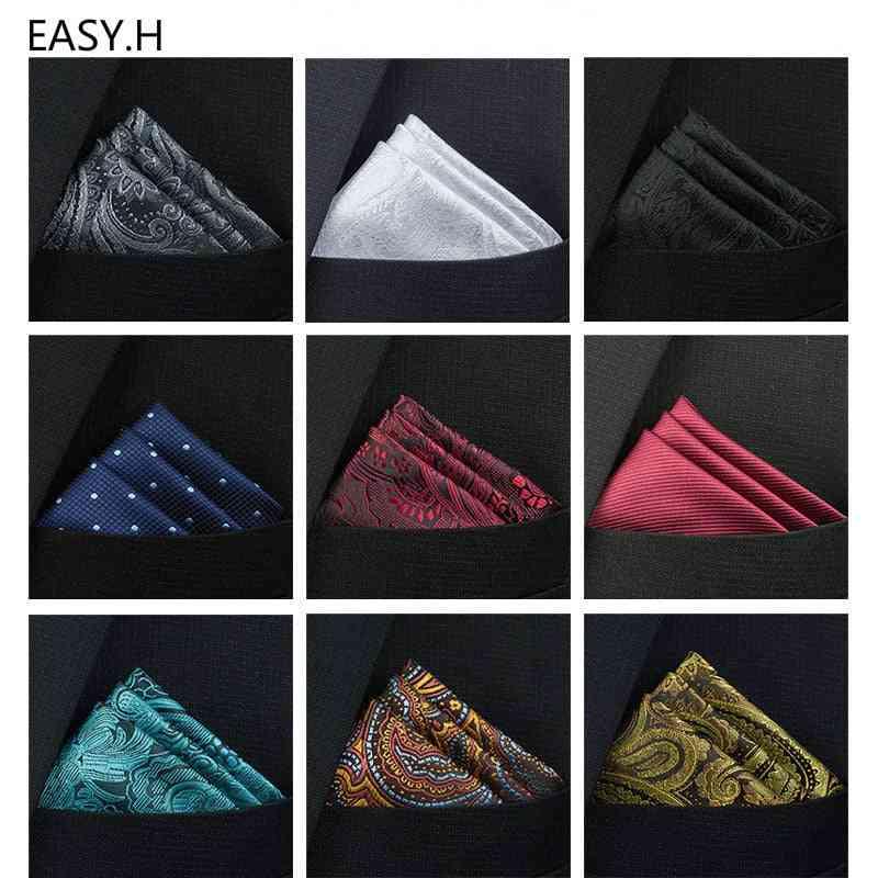 Pocket Square Paisley Solid Colors Vintage Business Suit Handkerchief Breast Scarf