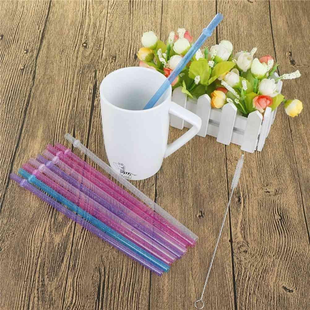 Reusable Distored Color Beverage Hard Plastic Stripe Drinking Straws