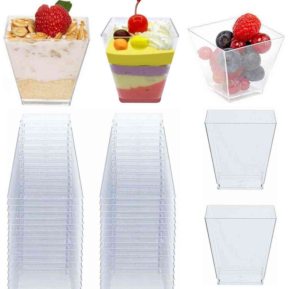 Transparent Dessert Trapezoid Square Dessert Disposable Cup