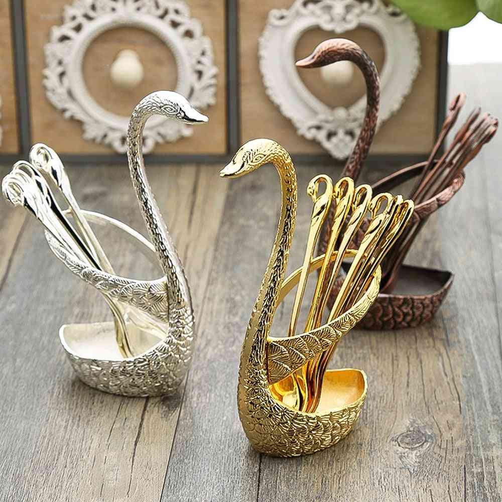 Stainless Steel Swan Fruit Base Holder Forks Set