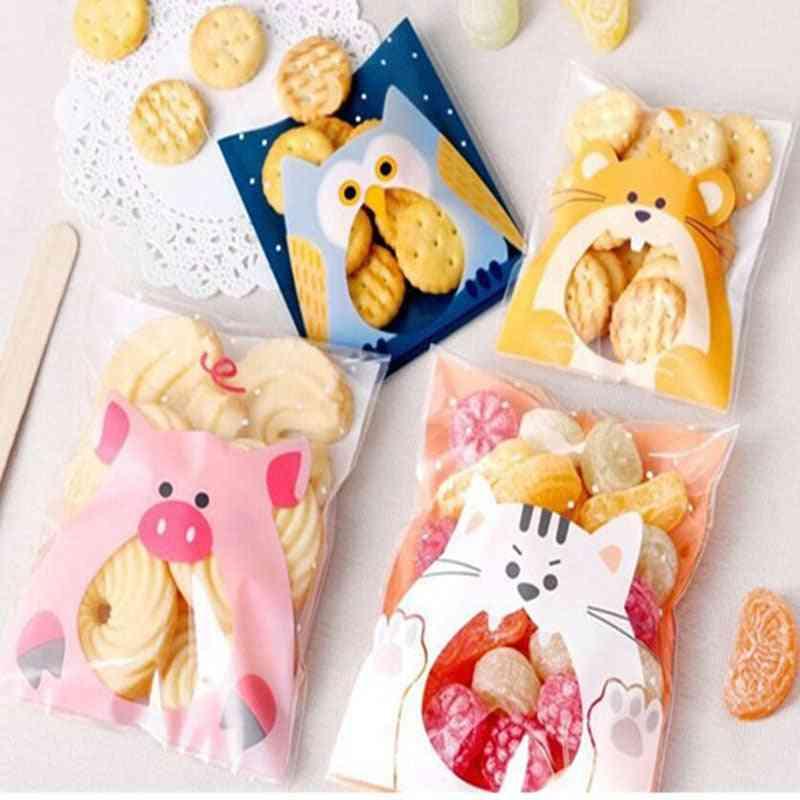 Cute Cartoon Animals Cookie Candy Self-adhesive Plastic Bag