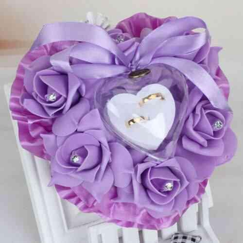 Heart-shape Rose Flowers Wedding Ring Pillow Holder