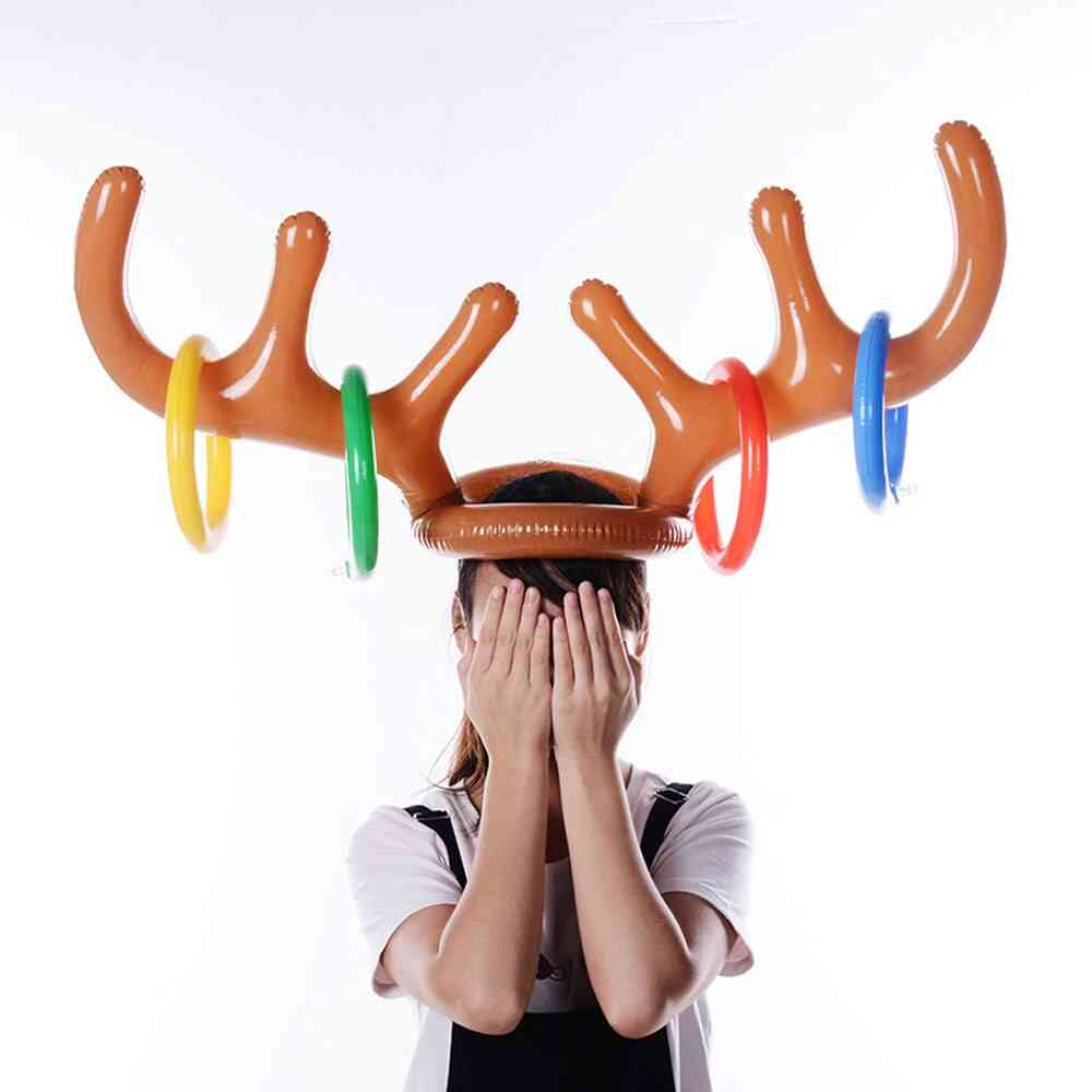 Inflatable Santa Reindeer Antler Hat Ring Toss Christmas Holiday Party Game Christmas Outdoor Inflated Supplies