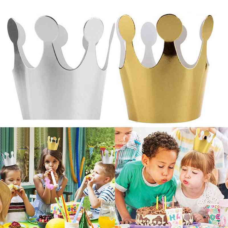 Silver Princess Crown Birthday Caps Party Decoration Paper Happy Birthday Paper Hats Festive Party Supplies