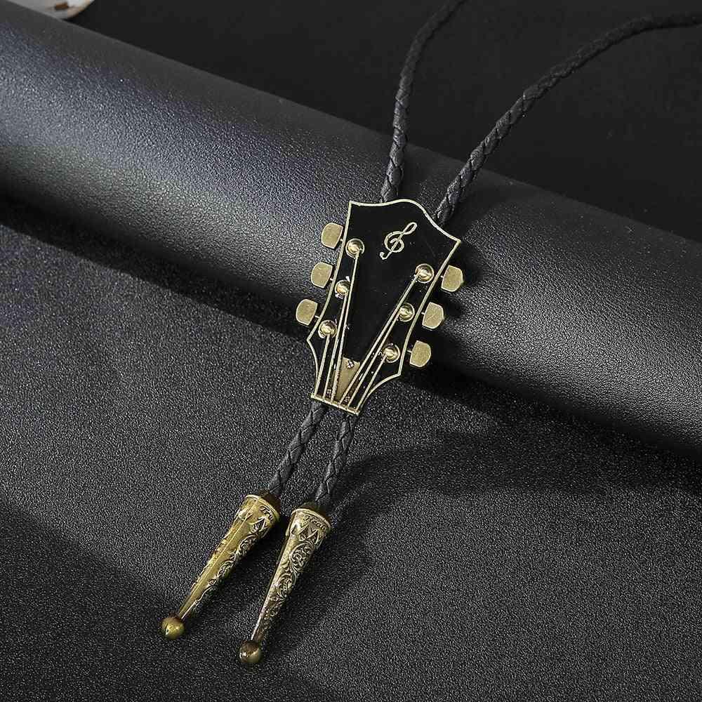 Fashion Music Guitar Bolo Tie Pendant