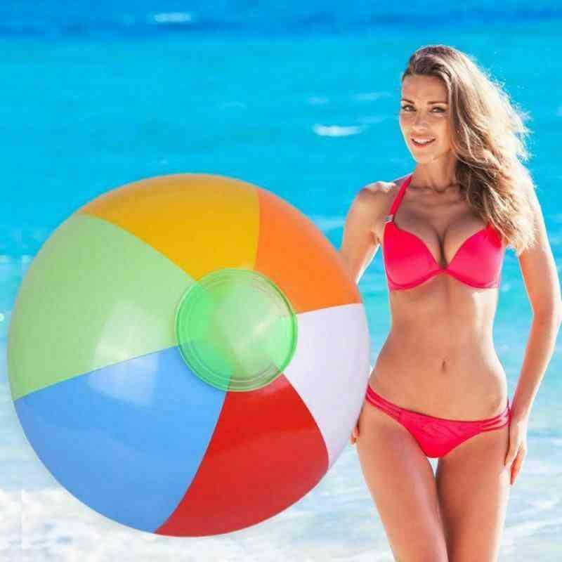 Inflatable Beach Ball Pvc Water Balloons Rainbow-color Balls Summer Outdoor Beach Swimming