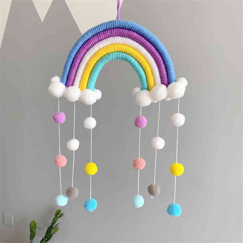 Weaving Hand-woven Tassel Rainbow Wind Chimes Hanging Ornaments Toy Room Home Decoration Accessories