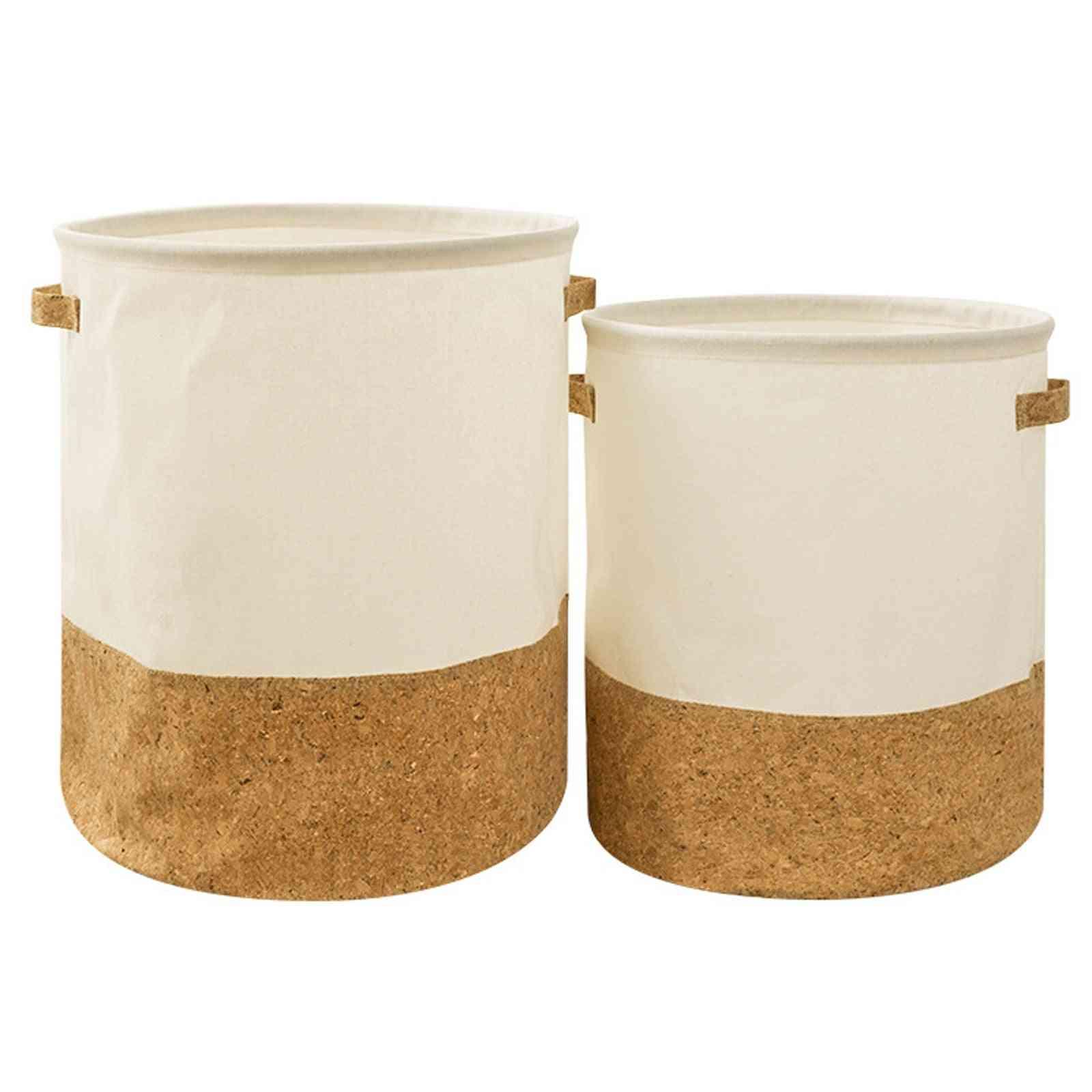 Linen Cotton Toy Storage Bag, Laundry Clothes Basket