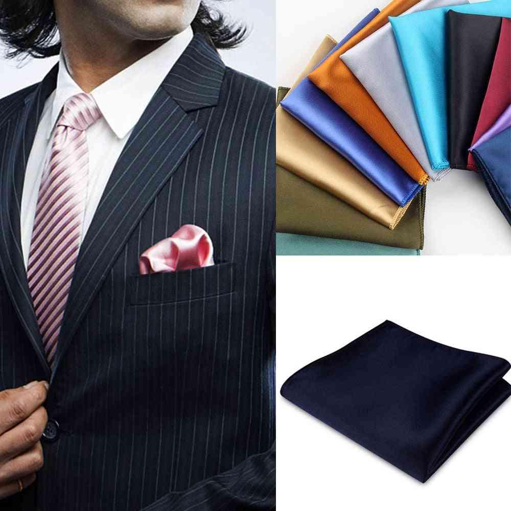 Vintage Silk Satin Men Suit Pocket Square Handkerchief