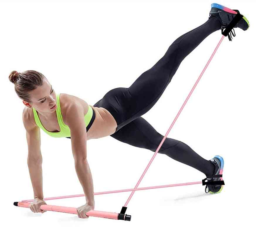 Pilates Exercise Stick Toning Bar Fitness Body Abdominal Resistance Bands Rope Puller