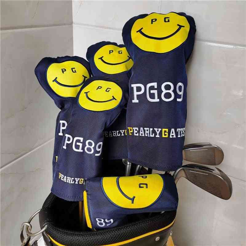 Smilling Face Nylon Golf Hybrid Putter Covers For Clubs Set