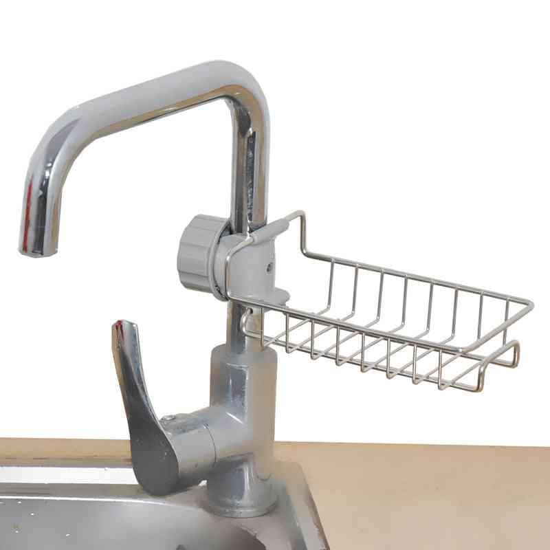Adjustable Faucet Stainless Steel Sundries Storage Rack