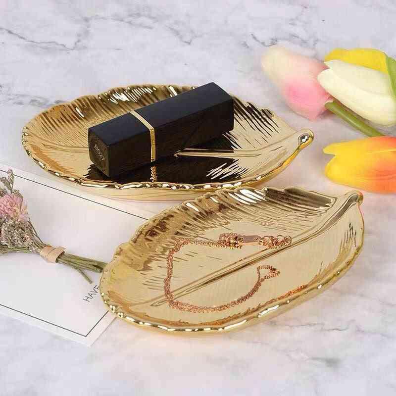 Decorative Gold Leaf Ceramic Plate Dish