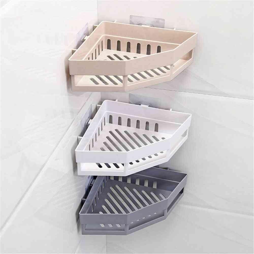 Bathroom Plastic Shelf Punch-free Storage Rack