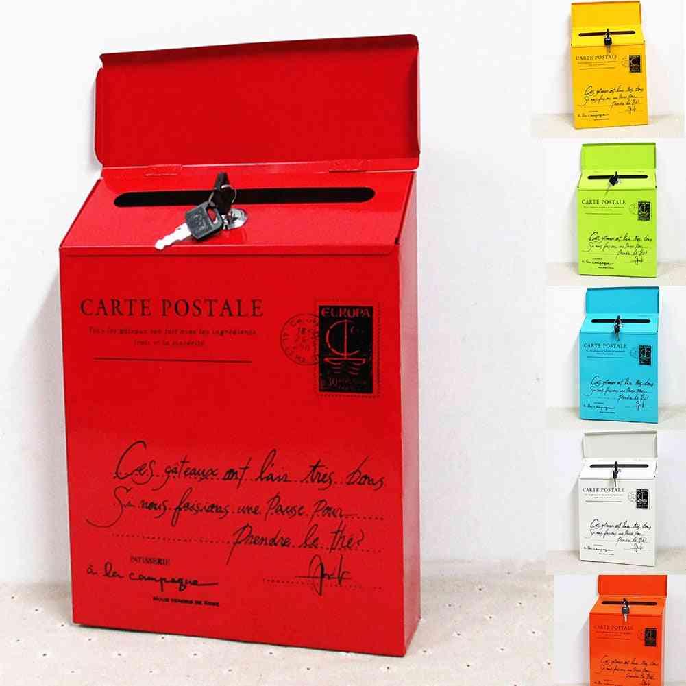 Iron Lock Letter Box, Vintage Wall Mount Mailbox