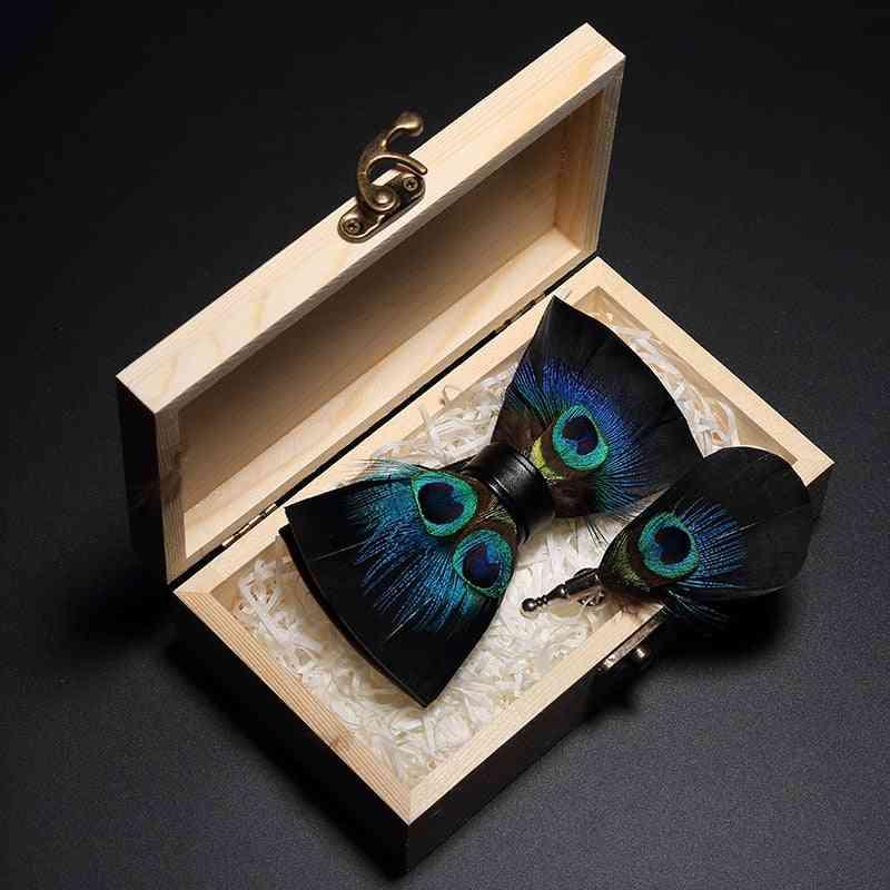 Original Design Peacock Feather Bow Tie