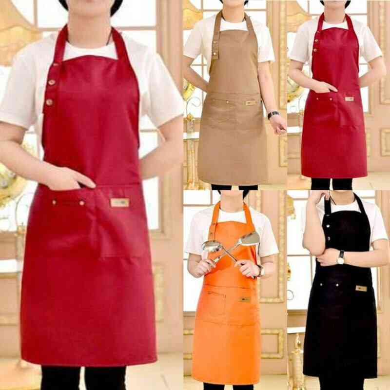 Waterproof Chef Cooking Kitchen Double Pocket Apron