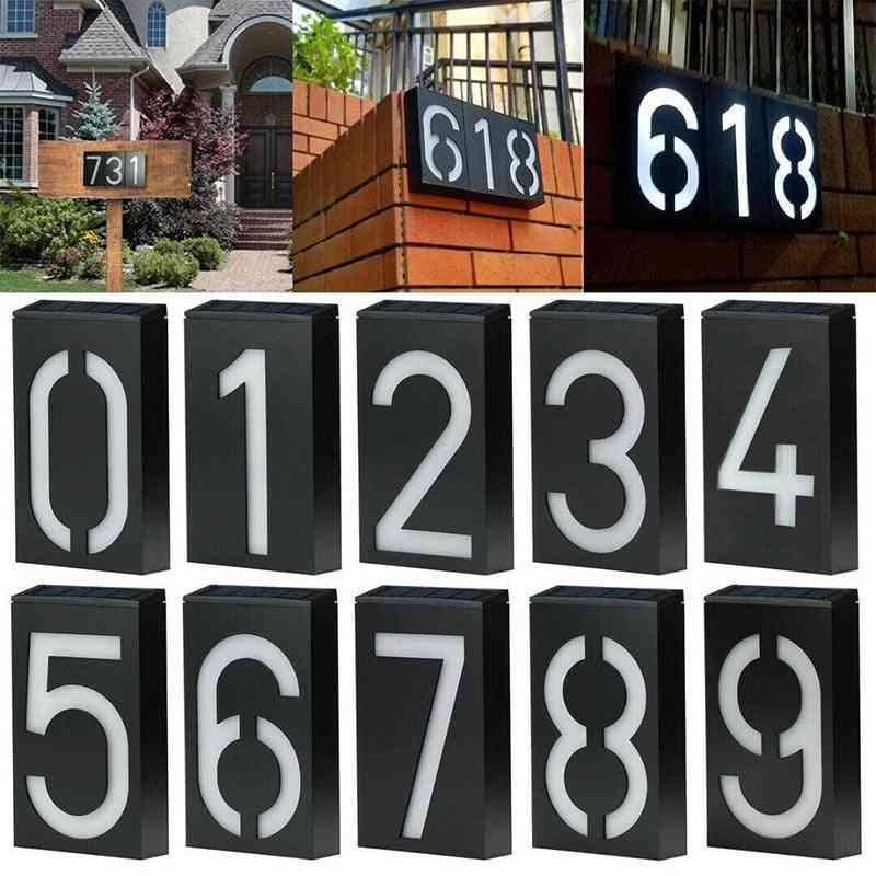 Solar Led Lamp, House Address Number, Sign Waterproof, Door Address Digits Plate, Plaque Mailbox, Wall Lamps