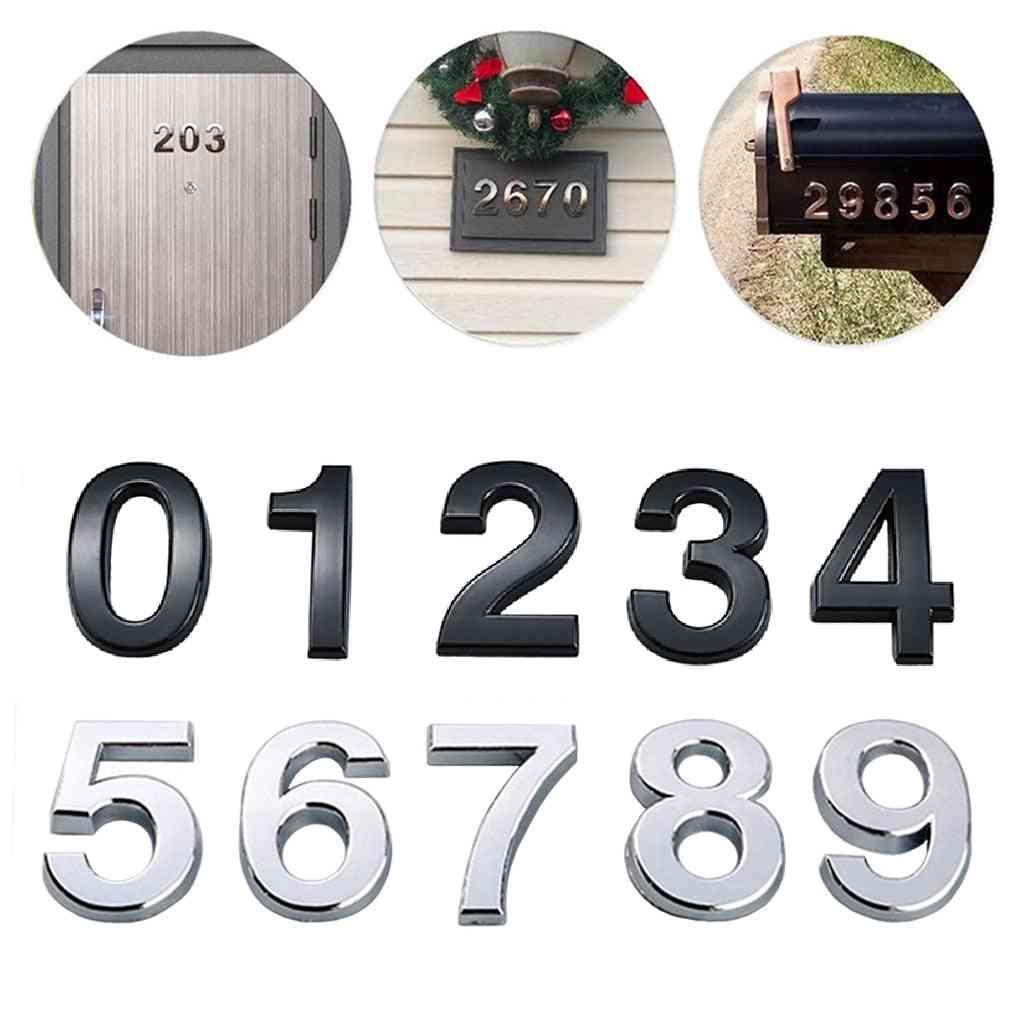 Self Adhesive 3d Number Stickers, House, Room, Door Number Plate Sign For Home, Apartment, Cabinet Table, Mailbox, Outdoor Numbers