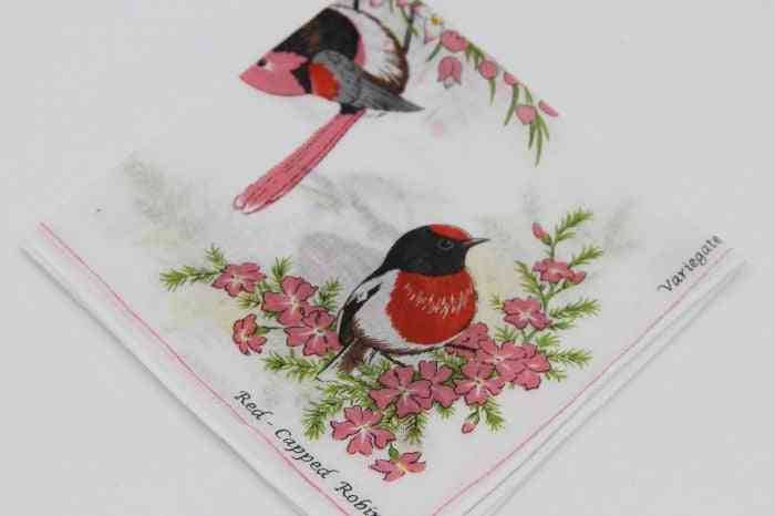 Lovely Printed White Ladies Hanky Hand Towels