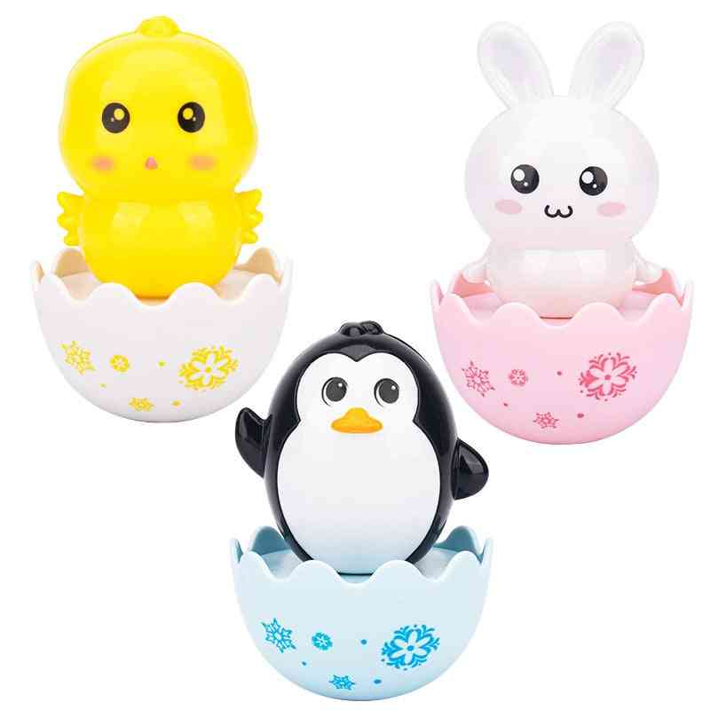 Baby Care Cute Yellow Chick Rabbit Penguin Tumbler Roly-poly Plastic Abs Rattles Grasping Training