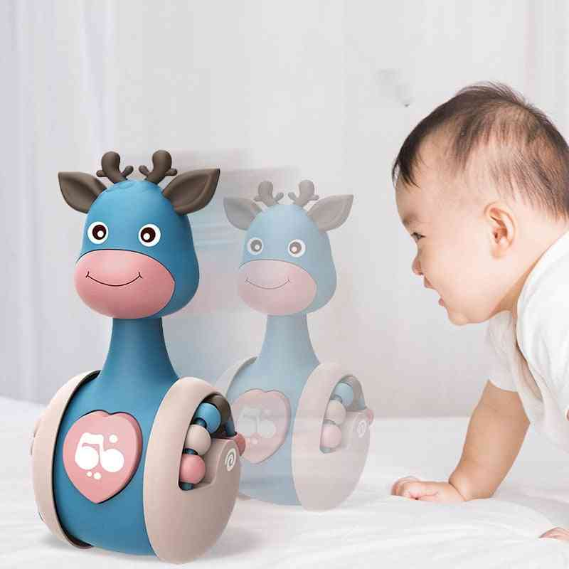 Sliding Deer Baby Tumbler Rattle Learning Education Newborn Teether Infant Hand Bell Mobile Press Squeaky Roly-poly Toy