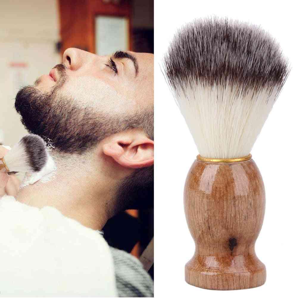 Men Hair Shave Wooden Handle Pure Nylon Shaving Brush