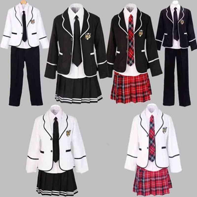 Student Long-sleeve School Uniform,-girl Uniform Set
