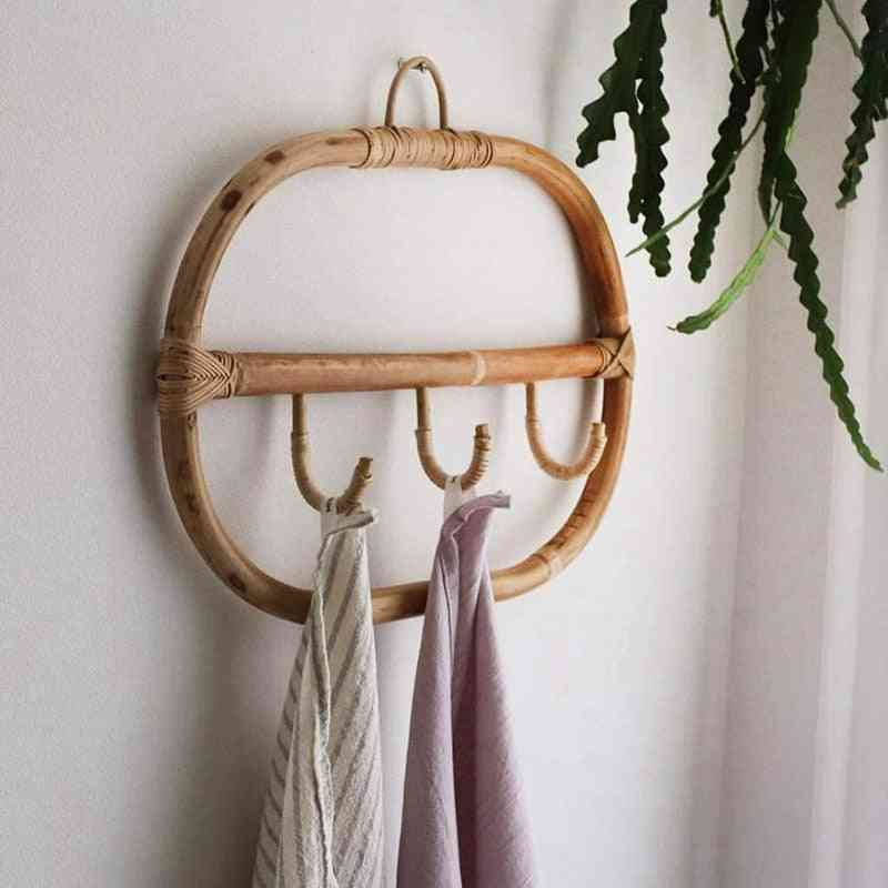 Nordic Vintage Rattan Clothes Wall Hooks