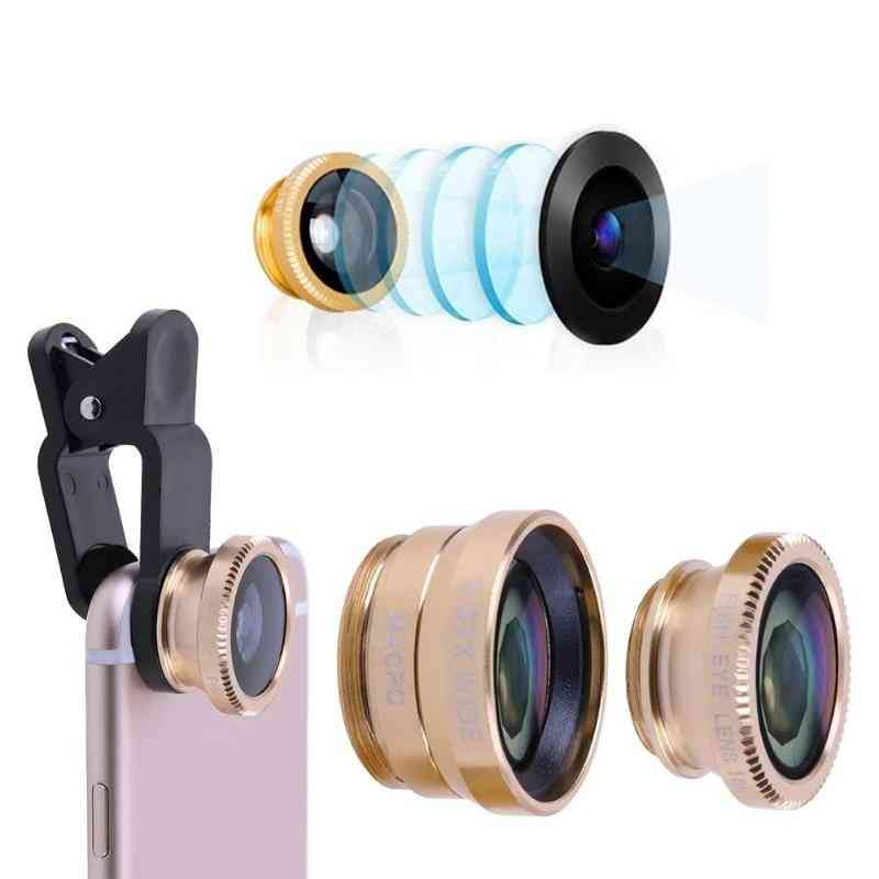 3 In 1 Wide Angle Macro Fish Eye Lens Mobile Phone Camera Kit For Smartphone