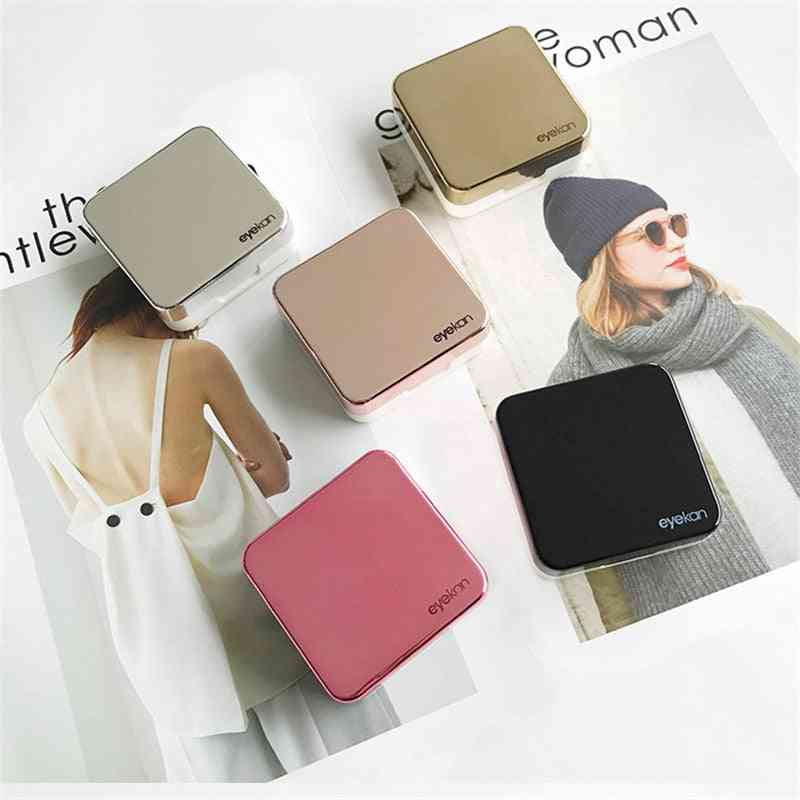 Reflective Cover Contact Lens Case With Mirror Female Portable Colored Contact Lens Container Lovely Eye Contact Box