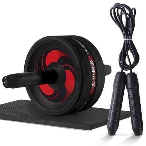 Ab Roller& Jump Rope, No Noise, Abdominal Wheel With Mat For Arm, Waist, Leg Exercise, Gym Fitness Equipment