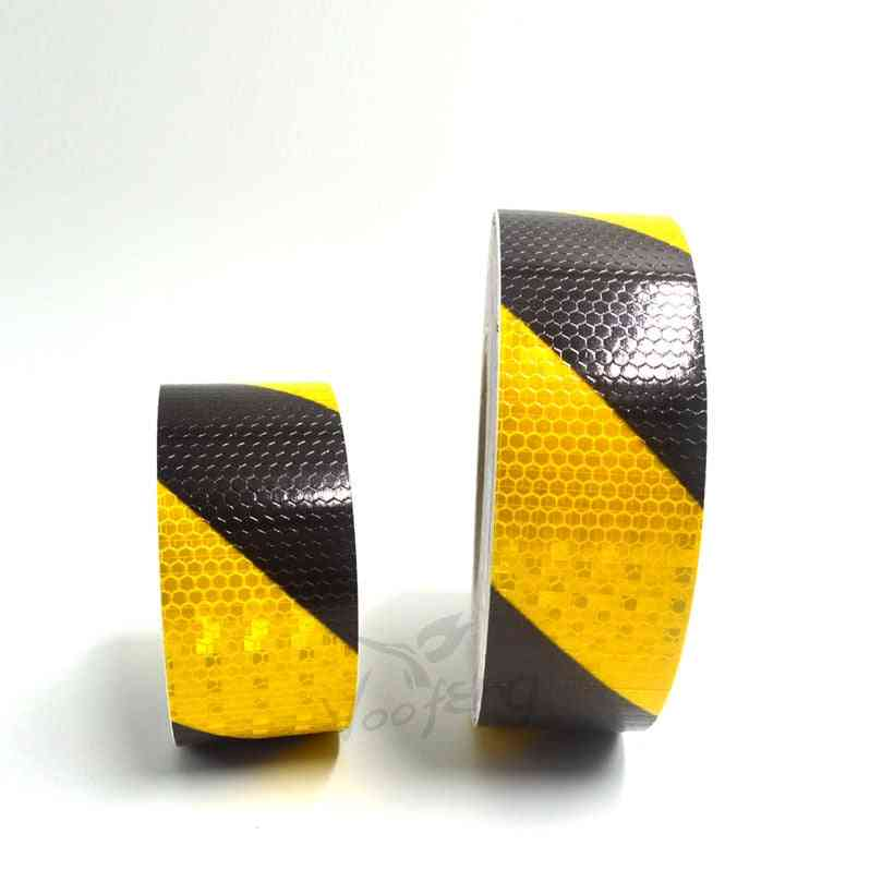Small Shining Self-adhesive Reflective Warning Tape With Yellow Black Color Twill Printing For Car Motorcycle