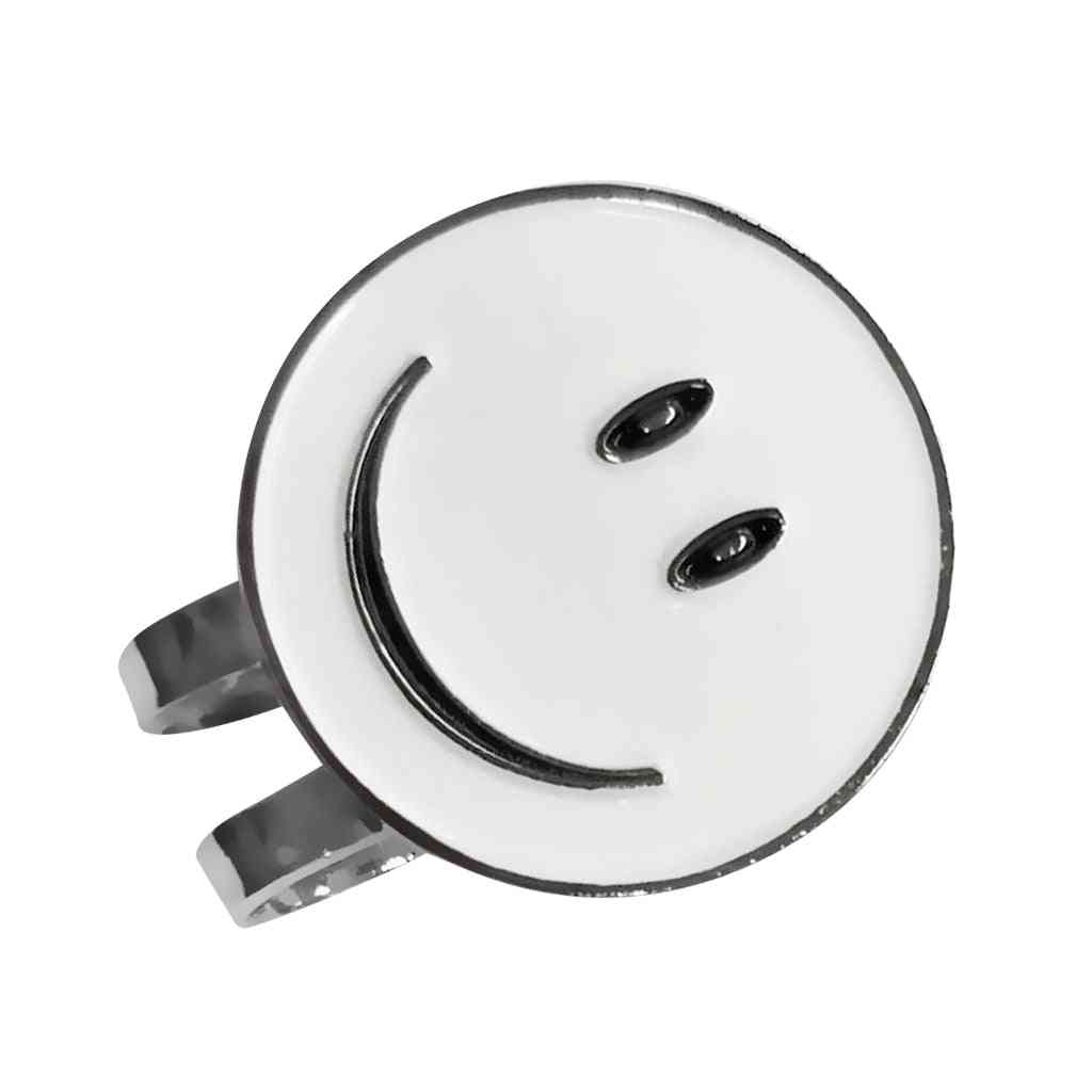 White Smile Face Golf Ball Marker With Hat Clip