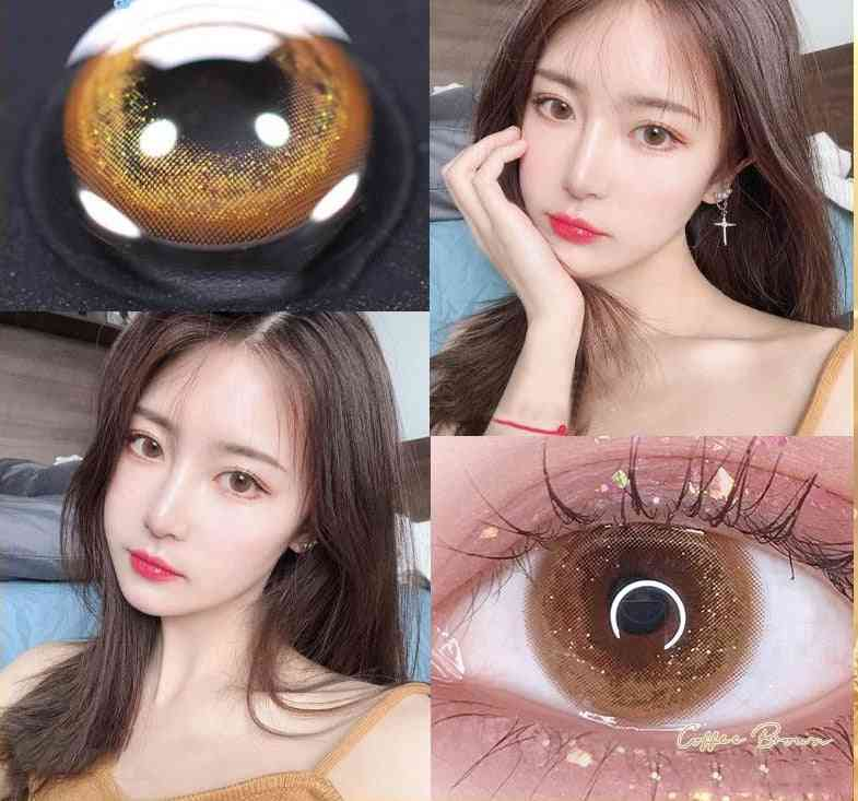 Colored Contacts Lenses Non Prescription Myopia For Gold Brown Eyes With Color Degree Beauty Pupil Cosplay Halloween Cosmetics