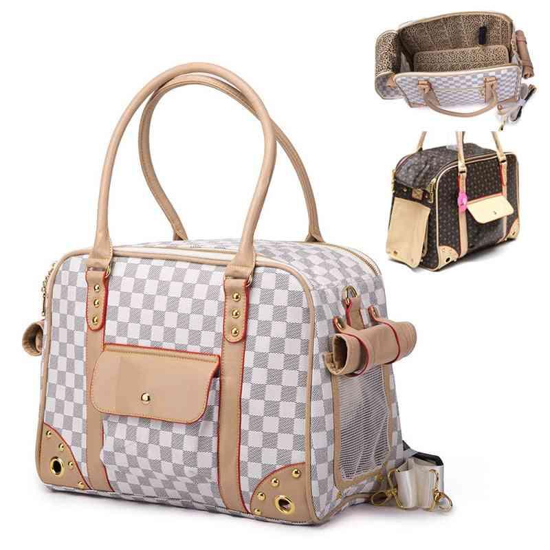 Outdoor Travel Mesh Faux Leather Single Dog Carrier Shoulder Bag