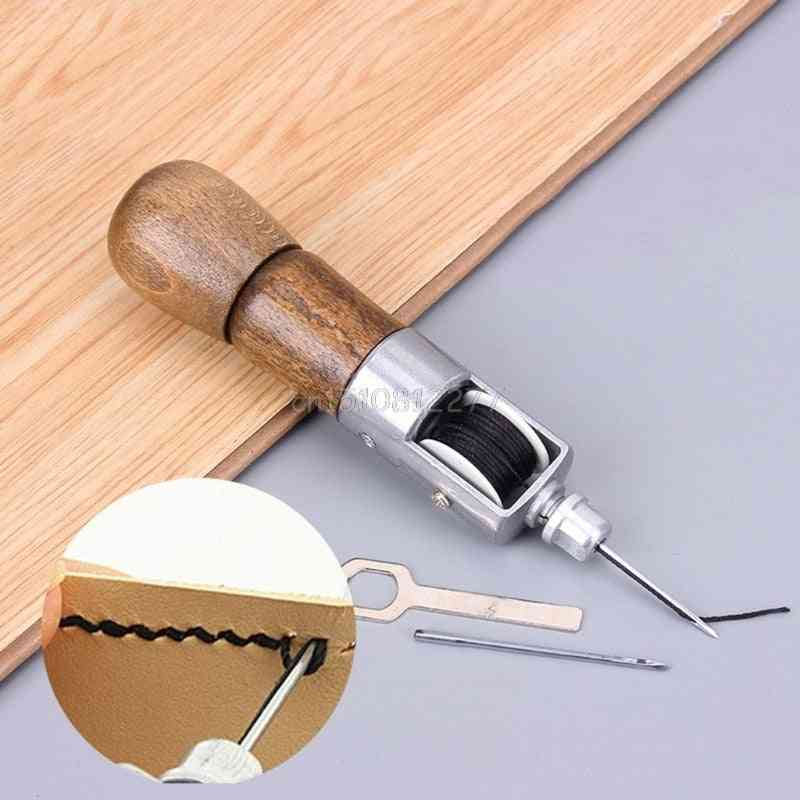 Leather Craft Lock Stitch Sewing Awl Thread Kit Needles Stitch Leather Fabric Grocery