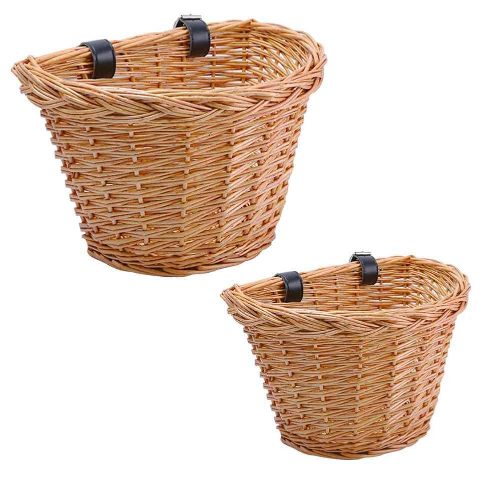 Children's Vintage Rattan Bicycle Baskets Balance Car Baskets Bike Scooter Basket Kids Bike Cart Plastic Handbag