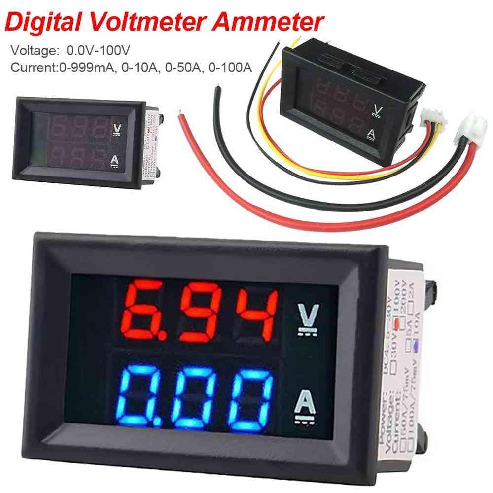 Digital Voltmeter Dc 100v 10a Voltmeter Ammeter Blue + Red Led Amp Gauge Electromobile