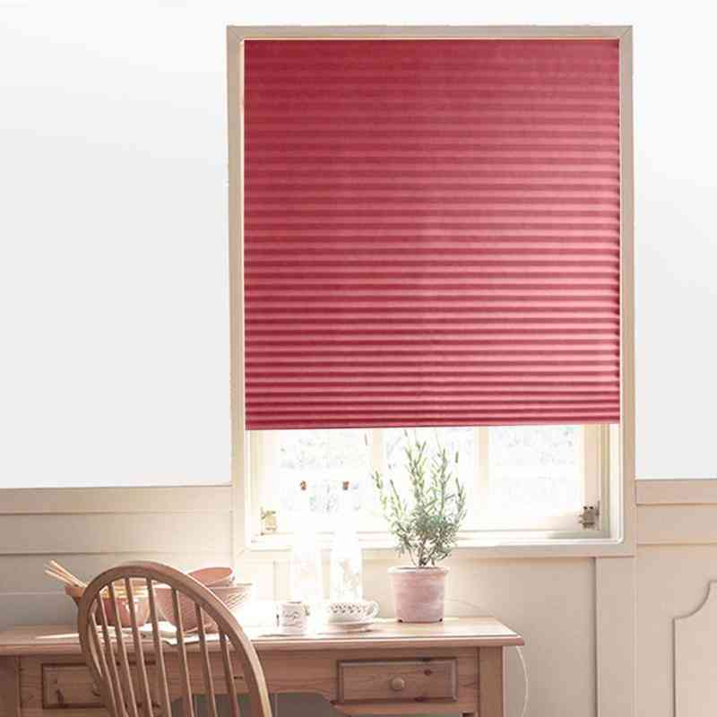 Self-adhesive Pleated Blinds Curtains Living Room Half Blackout Window Curtains
