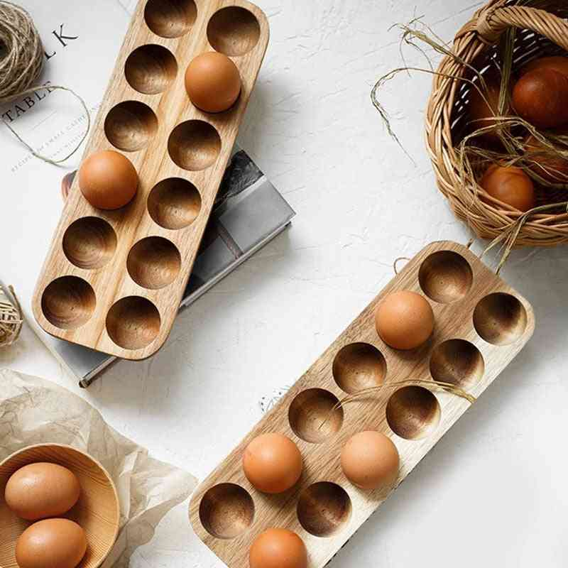 Kitchen Containers Acacia Wood Double-row Egg Storage Box