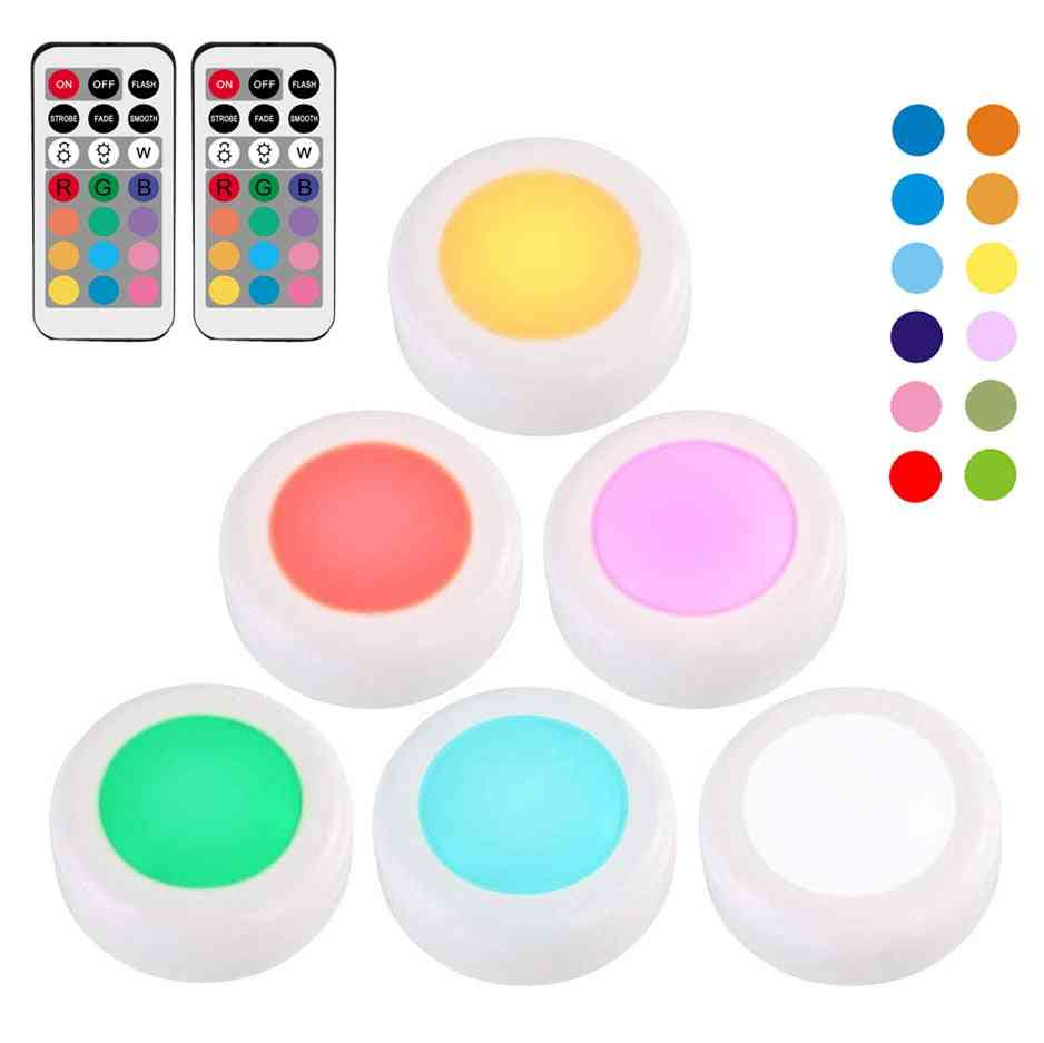 Rgb Led Under Cabinet Light Dimmable Touch Sensor Led Puck Lights For Cupboard Close Wardrobe Stair Hallway