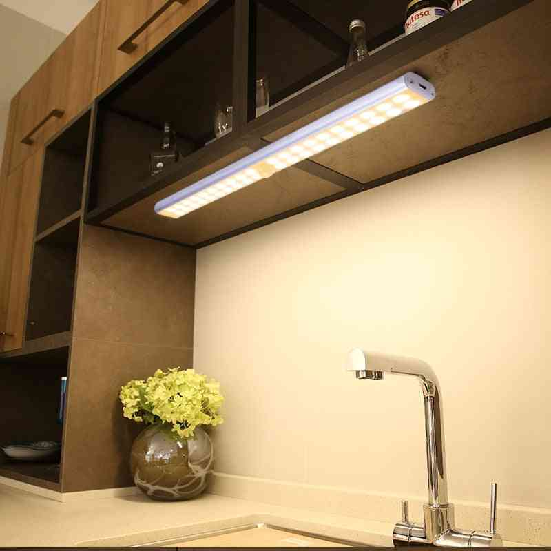 Wireless Led Under Cabinet Light Usb Rechargeable Closet Night Lights Wardrobe Kitchen Long Strip Wall Lamp For Stairs