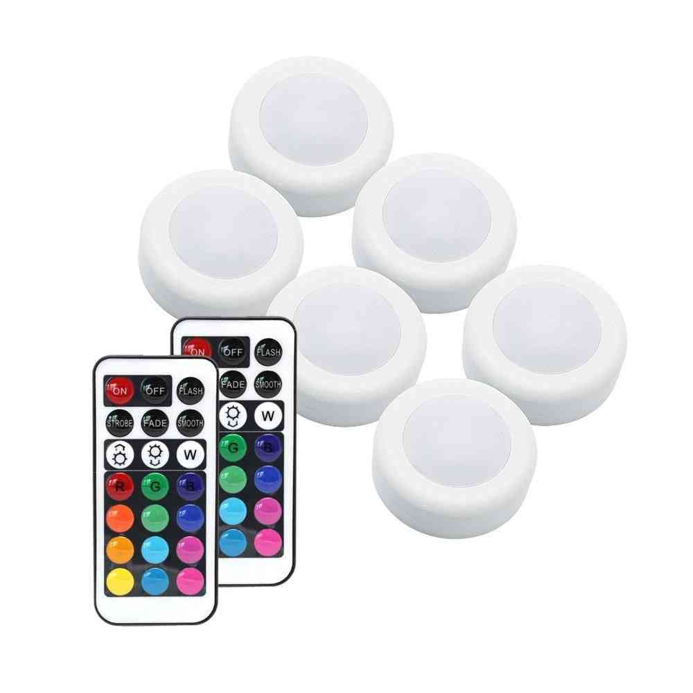 Wireless Rgb Rgbw Led Puck Light With Remote Control Under Closet Light Stick On Lights For Kitchen Wall Wardrobe